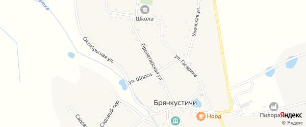 Пролетарская улица на карте села Брянкустичи Брянской области с номерами домов