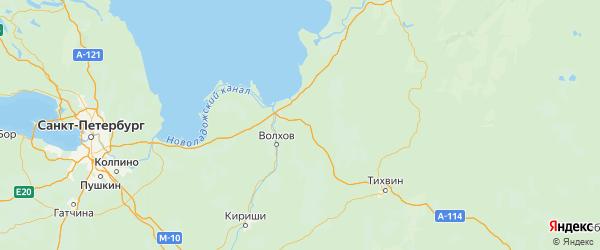 Карта Волховского района Ленинградской области с городами и населенными пунктами