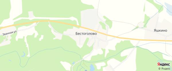 Карта деревни Бестоголово в Ленинградской области с улицами и номерами домов