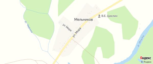 Улица Мира на карте поселка Мельникова с номерами домов