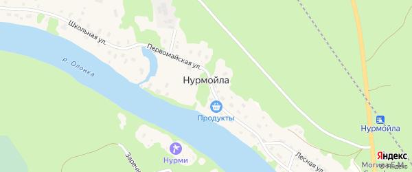 Тепличная улица на карте села Нурмойла Карелии с номерами домов