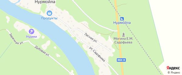 Лесная улица на карте села Нурмойла Карелии с номерами домов