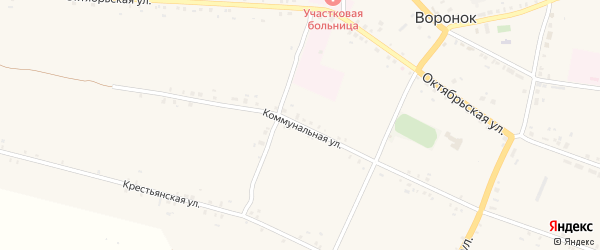 Коммунальная улица на карте села Воронка с номерами домов