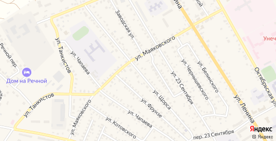 Улица Щорса в Унече с номерами домов на карте. Спутник и схема онлайн