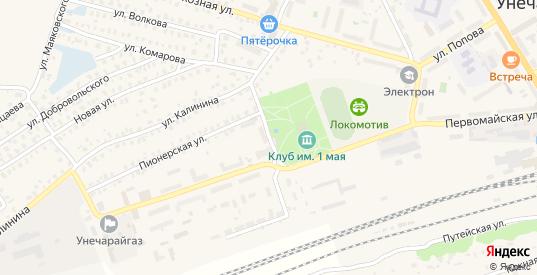 Первомайский переулок в Унече с номерами домов на карте. Спутник и схема онлайн