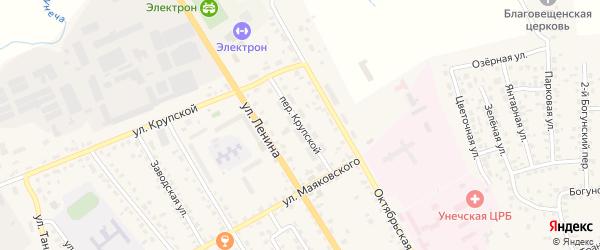 Крупской переулок на карте Унечи с номерами домов