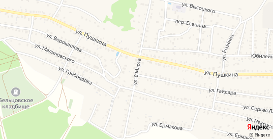 Улица 8 Марта в Унече с номерами домов на карте. Спутник и схема онлайн