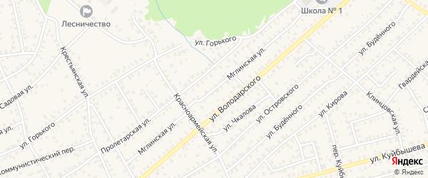 Мглинская улица на карте Унечи с номерами домов