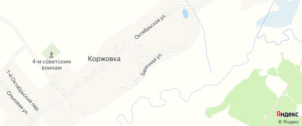 Заречная улица на карте деревни Коржовки с номерами домов