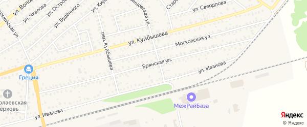 Брянская улица на карте Унечи с номерами домов
