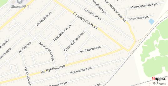 Переулок 2-й Свердлова в Унече с номерами домов на карте. Спутник и схема онлайн