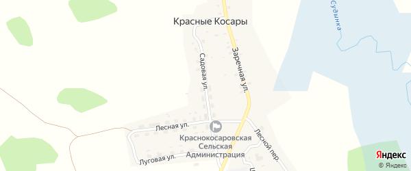 Садовая улица на карте деревни Красные Косары с номерами домов