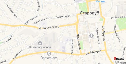 Коммунальный переулок в Стародуб с номерами домов на карте. Спутник и схема онлайн