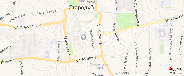 Евсеевская улица на карте Стародуб с номерами домов