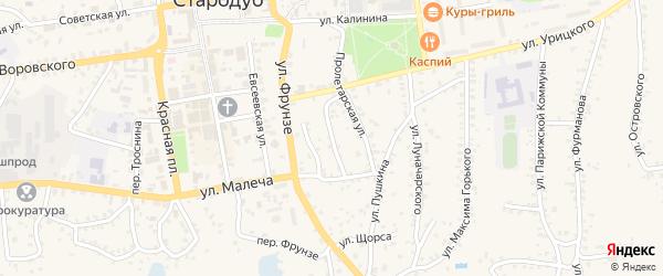 Пролетарский переулок на карте Стародуб с номерами домов