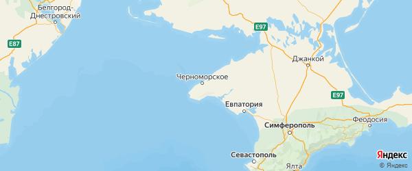 Карта Черноморского района Республики Крыма с городами и населенными пунктами