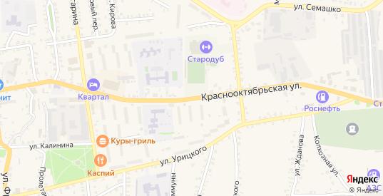 Краснооктябрьская улица в Стародуб с номерами домов на карте. Спутник и схема онлайн