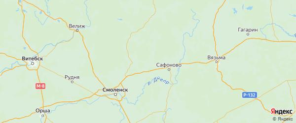 Карта Ярцевского района Смоленской области с городами и населенными пунктами