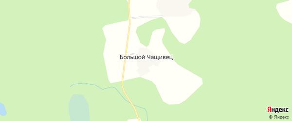 Карта деревни Большого Чащивец города Осташкова в Тверской области с улицами и номерами домов