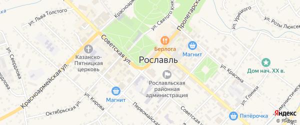 2-й Заречный переулок на карте Рославля с номерами домов