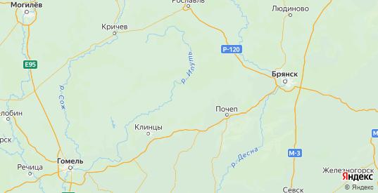 Карта Мглинского района Брянской области с городами и населенными пунктами