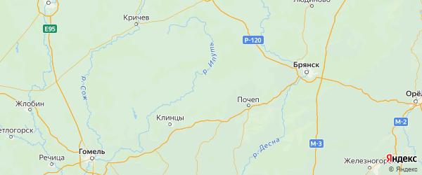 Карта Мглинского района Брянской области с населенными пунктами и городами