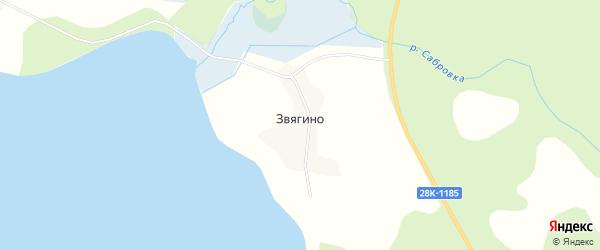 Карта деревни Звягино города Осташкова в Тверской области с улицами и номерами домов