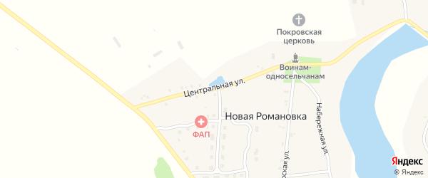 Центральная улица на карте села Новой Романовки с номерами домов