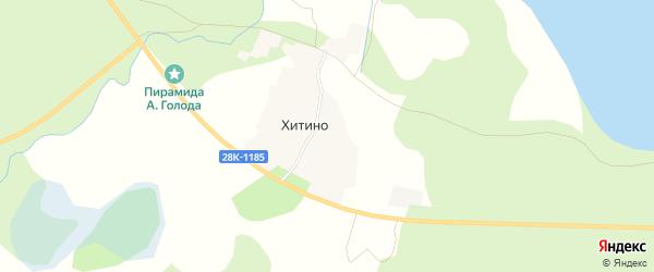 Карта деревни Хитино города Осташкова в Тверской области с улицами и номерами домов