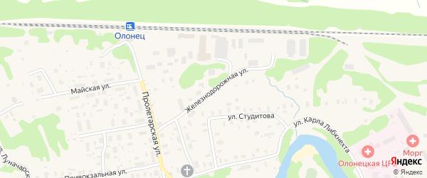 Железнодорожная улица на карте Олонца с номерами домов