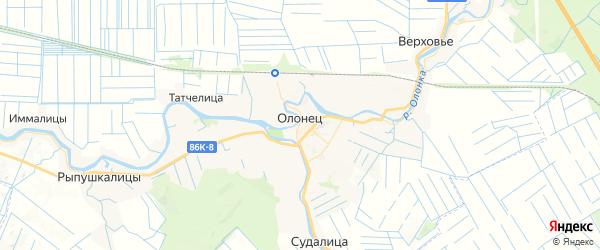 Карта Олонца с районами, улицами и номерами домов: Олонец на карте России