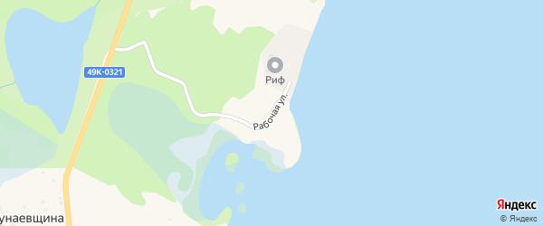 Рабочая улица на карте деревни Бураково Новгородской области с номерами домов