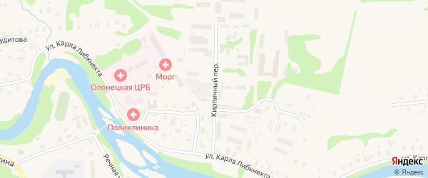 Кирпичный переулок на карте Олонца с номерами домов