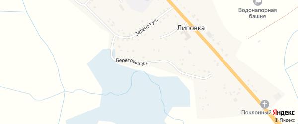 Береговая улица на карте деревни Липовки Смоленской области с номерами домов