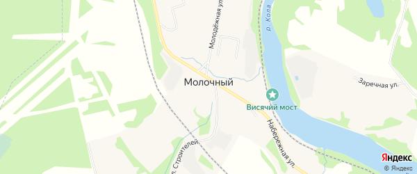 Карта Молочного поселка в Мурманской области с улицами и номерами домов