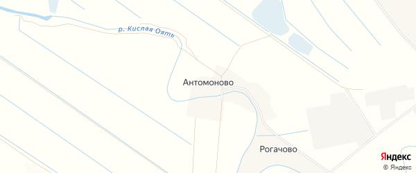 Территория мелиоративных сооружений на карте деревни Антомоново Ленинградской области с номерами домов