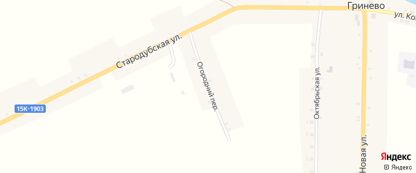 Огородний переулок на карте села Гринево с номерами домов