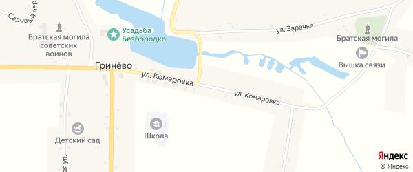 Улица Камаровка на карте села Гринево с номерами домов