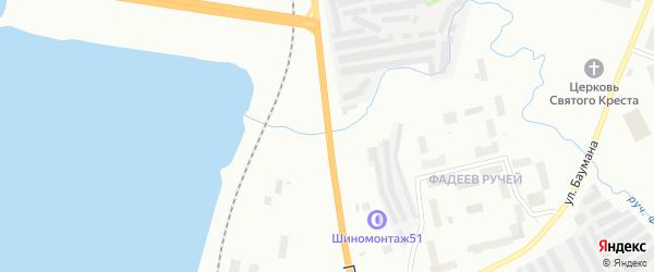 Участок Прибрежная автодорога на карте Мурманска с номерами домов