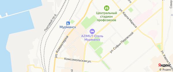 Карта почтового отделения Мурманска-17 города Мурманска в Мурманской области с улицами и номерами домов