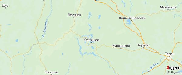 Карта Осташковского района Тверской области с городами и населенными пунктами