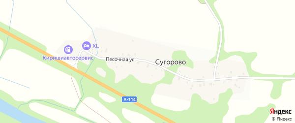 Песочная улица на карте деревни Сугорово Ленинградской области с номерами домов