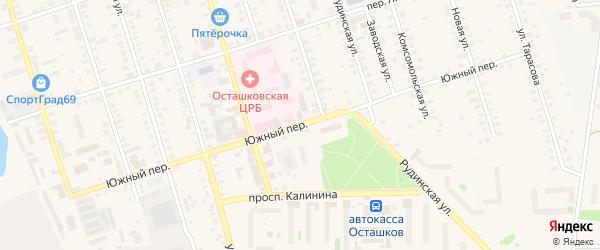Южный переулок на карте Осташкова с номерами домов