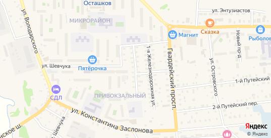 2-я Железнодорожная улица в Осташкове с номерами домов на карте. Спутник и схема онлайн