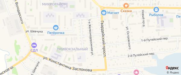 1-я Железнодорожная улица на карте Осташкова с номерами домов
