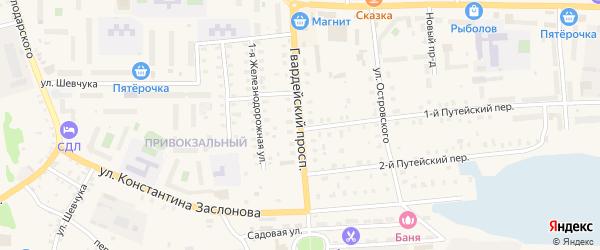 Гвардейский проспект на карте Осташкова с номерами домов