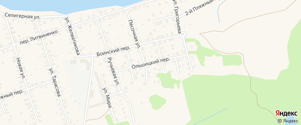 Ольшицкий переулок на карте Осташкова с номерами домов