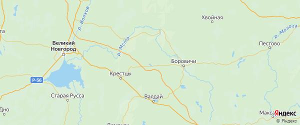 Карта Окуловского района Новгородской области с городами и населенными пунктами