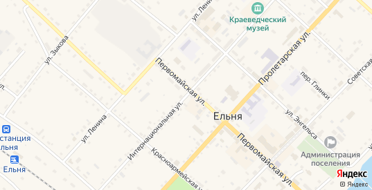 Интернациональная улица в Ельне с номерами домов на карте. Спутник и схема онлайн