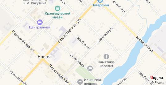 Переулок Глинки в Ельне с номерами домов на карте. Спутник и схема онлайн